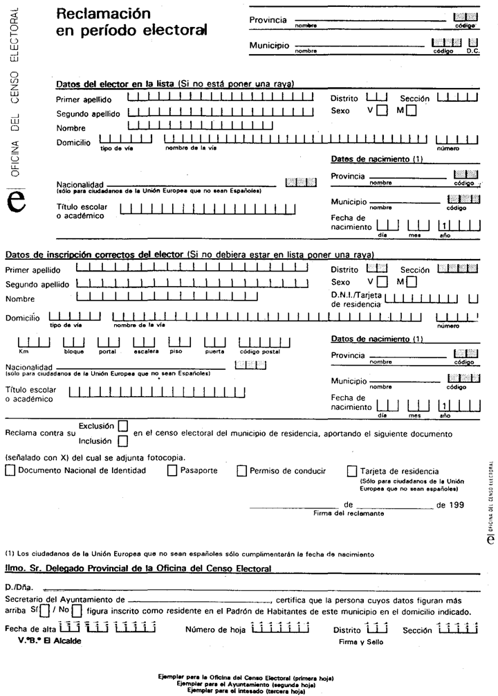 Documento boe a 1994 8983 for Oficina del censo electoral madrid