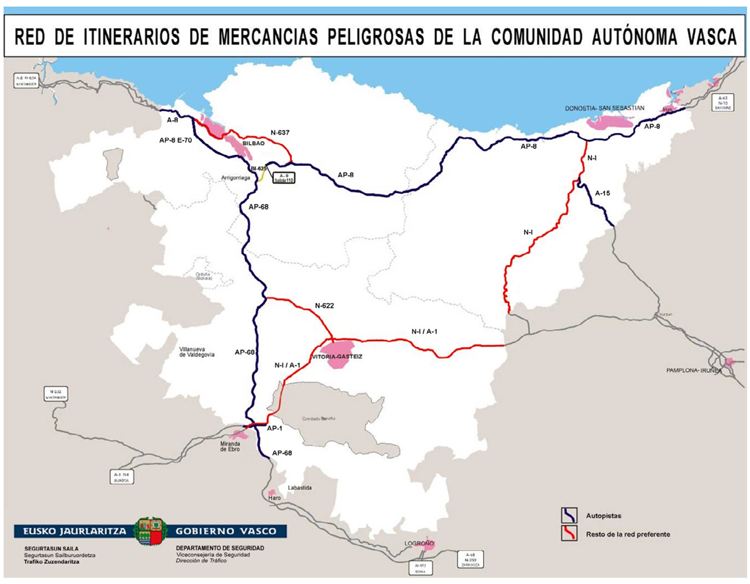 Resultado de imagen para red de itinerarios de mercancias peligrosas de la comunidad vasca